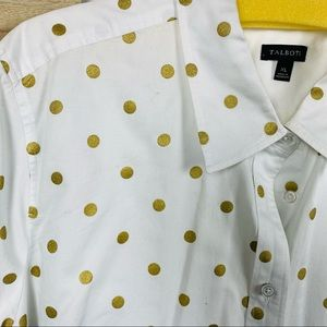 Talbot white and gold polkadot button up size extra large